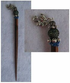 Silver Celtic Dragon Charm Wooden Hair Stick New Shawl Pin Accessories