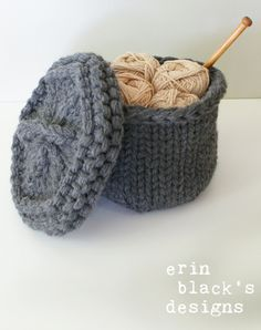 """Knitting Pattern for Basket with Lid - #ad Two sizes: The small basket is approximately 5"""" diameter and 4"""" tall and the large basket is approximately 7"""" diameter and 5"""" tall. tba storage craft tool"""
