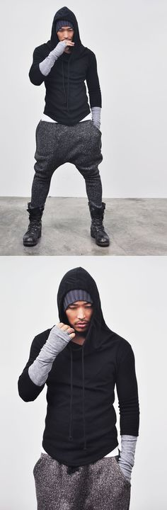 Tops :: Re)Built-in Warmer Wool Turtle Hood-Knit 24 - Mens Fashion Clothing For An Attractive Guy Look Hooot! Tomboy Fashion, Dark Fashion, White Fashion, Fashion Outfits, Mens Fashion, Modern Outfits, Cool Outfits, Apocalyptic Fashion, Attractive Guys