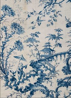 CHINOISERIE COPPERPLATE PRINTED COTTON  English (Bromley Hall) for the American Market, designed ca. 1765; printed after 1774