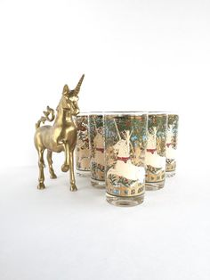 Set of 6 Mid Century Cera Enchanted Forest by SandHollowVintage