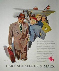 1949 Hart Schaffner Marx Men's Suit Fashion Ad Vintage Clothing TWA Aircraft | eBay