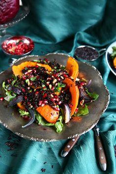 Vegan Roast Pumpkin and Black Rice Salad with Pine Nuts