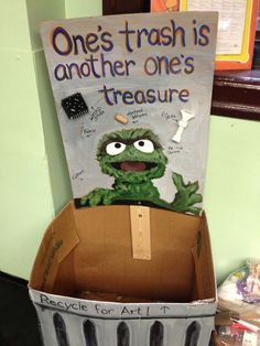 Recycling drop box for art rooms! Such a great idea! Ask for paper towel tubes, water bottles, yogurt cups, plastic Dunkin donuts cups etc! Art Classroom Decor, Art Classroom Management, Classroom Displays, Classroom Organization, Classroom Ideas, Classroom Signs, Classroom Tools, Classroom Crafts, Library Displays