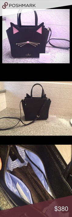 """Kate spade crossbody jazz things up cat NWOT Size Info 9 ¼""""W x 8 ¾""""H x 4 ½ 6"""" strap drop; 20"""" - 23"""" convertible strap drop.                    Details & Care Top zip closure. Optional, adjustable crossbody strap. Interior zip, wall and smartphone pockets. Protective metal feet. Signature 'quick & curious' jacquard lining. Leather. kate spade Bags Crossbody Bags"""
