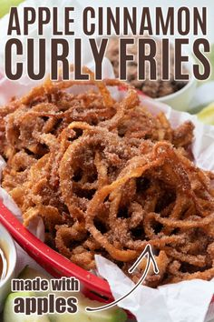 Apple Cinnamon Curly Fries are a fun new fall recipe everyone will go crazy for! Dip them in caramel for an easy but indulgent treat! Apple Recipes, Fall Recipes, Thanksgiving Recipes, Sweet Recipes, Apple Desserts, Delicious Desserts, Dessert Recipes, Yummy Food, Vegetarian Bake