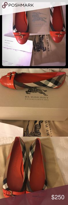 NWT Burberry House Check Ballerinas flats! EUR 38 New with tags Burberry belt detail house check ballerinas flats. Color bright coral red. Received as a gift but they were too small, so I never wore them. EUR size 38. Approximately US 8. Comes with box, receipt and cloth bag to protect shoes. 100% authentic. Receipt will have credit card number blacked out and shipping / billing address blacked out.                                                   Reasonable offers Welcome!  Bundles…