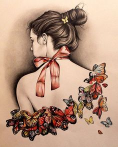 Illustration - illustration - L'effet papillon by *KatePowellArt www. illustration : – Picture : – Description L'effet papillon by *KatePowellArt www.creativeboysc… -Read More – Kate Powell, Earth Design, Home Decor Paintings, Cross Paintings, Butterfly Art, Butterfly Pictures, Butterfly Dress, Fantasy Art, Art Drawings