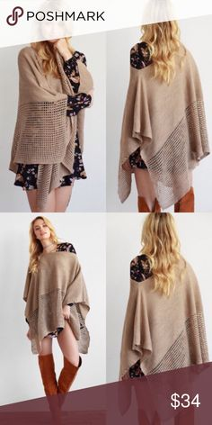 ❣NEW IN❣ Mocha Knit Asymmetrical Poncho Sweater Adorable poncho in mocha color. Perfect for this fall over tanks or dresses! ONE SIZE FITS ALL. Sweaters Shrugs & Ponchos