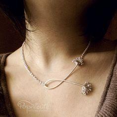 Dandelion Argentium Sterling Silver Handmade 4 in 1 Necklace   popnicute - Jewelry on ArtFire