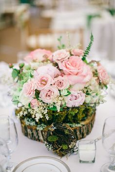Very soft-roses, peony, astilbe on wood