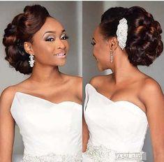 Black Brides Hairstyles, Natural Wedding Hairstyles, Loose Hairstyles, Bride Hairstyles, Black Bridesmaids Hairstyles, African Wedding Hairstyles, Hairstyles Pictures, Hairdo Wedding, Bridal Hair Updo