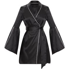 Black Satin Flare Sleeve Binding Detail Blazer Dress ($53) ❤ liked on Polyvore featuring dresses, satin strappy dress, blazer dress, flared sleeve dress, strap dress and bell sleeve dress