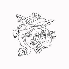 One Line Tattoo, Line Art Tattoos, Small Tattoos, Tattoo Flash Art, Tatoos, Medusa Greek Mythology, Greek Mythology Tattoos, Roman Mythology, Art Sketches