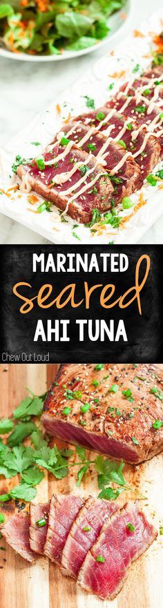 Marinated Seared Ahi Tuna. Amazing flavor, healthy, and perfect for summer.
