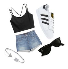 """Yass🌸"" by heyitzshayy on Polyvore featuring J Brand, adidas, Ray-Ban and Bling Jewelry"
