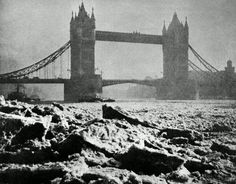 A view of Tower Bridge on the River Thames in London, when the river froze over in December of 1895