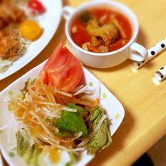 サラダ&ミネストローネ(o^^o) - 7件のもぐもぐ - 旦那さんのお誕生日のお祝い♫ by ayp26