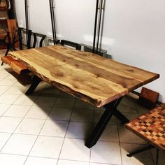 Okyanus Ceviz Ağacı Kütük Masa Yemek Masası   Toplantı Masası Walnut Live Edge Natural Slab Table Dinner Table   Meeting Table