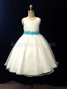 $53Jewel Organza Knee Length Flower Girls Dress with Hand Made Flower