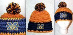 Crochet University of Michigan Wolverines beanie by MiProcesoCreativo, $30.00