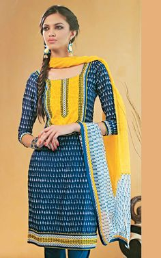 Blue & Yellow Cotton Salwar Kameez
