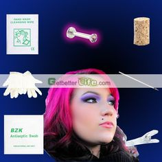 US$1.89 - Sterile labret Lip Stud Amethyst Studs Body Piercing Jewelry Needle Tool kit