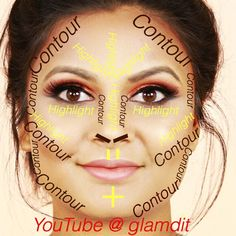 Contouring and highlight map for round faces , check my tutorial http://youtu.be/Ec-wIEYT1-8 for products for indian skin and how to contour and highlight