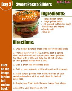 "How to make Sweet Potato Sliders! A delicious recipe to add to this week's menu. You could use salmon burgers, edamame burgers or any burger inside, but these sweet potato ""buns"" are amazing! REPIN if you want to try this! Click the Pin to get a copy of my 7-Day Meal Plan with delicious recipes to try, a grocery list, food prep and a daily menu!"