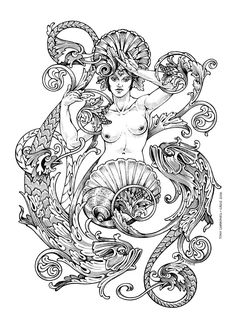 Coloring book pages, free coloring, coloring sheets, zodiac art, pisces zod Zodiac Art, Pisces Zodiac, Illustration, Alphonse Mucha, Coloring Book Pages, Coloring Sheets, Book Of Shadows, Line Art, Fantasy Art