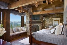 Bedroom of rustic cabin cottage or lodge. Possibly add some vintage items.