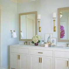 Structures Building Company - bathrooms - blue walls, blue bathroom walls, cream and blue bathroom, cream crown molding, bathroom crown mold...