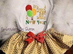 Personalized Baby's First New Years-  Bodysuit and Gold Chevron Skirt   Can also say 2nd  New Years too or Just Happy New Years $26.00