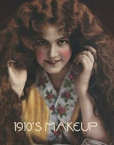 1910s makeup look: pale skin, natural/strong eyebrows, rosy cheeks, sooty but not smokey eyes, lipstick that matches cheek color.