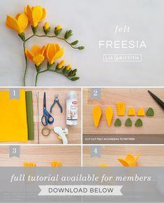 Felt Freesia Flowers DIY photo tutorial for felt freesia flowers by Lia Griffith Paper Flowers Diy, Handmade Flowers, Flower Crafts, Fabric Flowers, Zipper Flowers, Paper Flower Art, Flower Diy, Flower Wall, Felt Diy