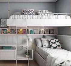 """8,562 curtidas, 41 comentários - SNAP: @decorcriative  (@decorcriative) no Instagram: """"Inspiração de quarto para irmãs ❤️ não importa se o espaço é pequeno, tem sempre um jeito.…"""""""