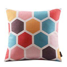 Lattice Geometric Cotton/Linen Decorrative Pillow Cover – USD $ 28.65
