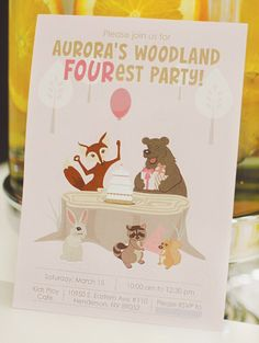 Pink Woodland FOURest Animals Birthday Party - LOVE this for z's 4th bday!!!