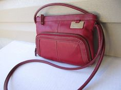 Tignanello cross body shoulder bag raspberry Organizer Leather Small #Tignanello #MessengerCrossBody