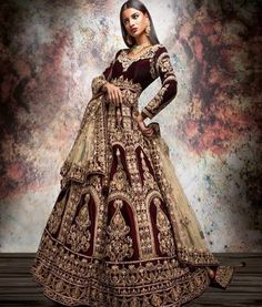 Reign your day by feeling and looking like a Queen in this rich wine… - Indian wedding clothes - Indian Wedding Gowns, Asian Wedding Dress, Indian Bridal Outfits, Indian Bridal Lehenga, Indian Bridal Wear, Asian Bridal, Pakistani Bridal, Indian Dresses, Bridal Dresses