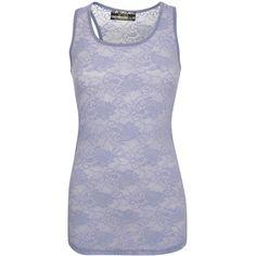 Pilot Floral Lace Print Vest Top (9.17 CAD) ❤ liked on Polyvore featuring tops, denim blue, scoopneck top, scoopneck tank, floral tank top, lace detail top and blue floral tank top