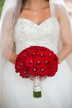 Wedding Bouquets Red Rose Filled Wedding Day - In the wedding world, Valentine's Day is a bit like Christmas morning for us. This red rose filled wedding day is just one way to kick off the romance. Spring Wedding Bouquets, Rose Bridal Bouquet, Red Rose Bouquet, Red Bouquet Wedding, Red Wedding Flowers, Bride Bouquets, Red Bridal Bouquets, Flower Bouquets, Floral Flowers
