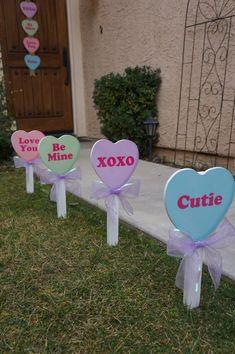 Valentine's Day Conversation Candy Heart Yard Decor