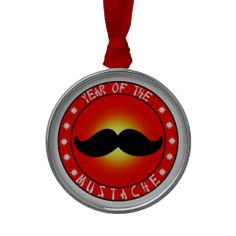 Year of the #Mustache Christmas Ornaments  shipping to Milwaukee, WI  #christmasornament #ornament #zazzle
