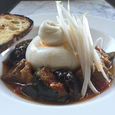 Today's Lunch and dinner special: continental canned ratatouille with burrata and chilli oil. Lunches And Dinners, Ratatouille, Sydney, Oil, Breakfast, Morning Coffee, Morning Breakfast, Butter