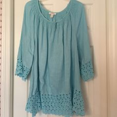 Charter Club linen top Beautiful Aqua color with lace at sleeves and all the way around the bottom of the top. This was the only size they had left and I thought I could wear it because I loved it so much but even after washing it's still too large on me!!  I hate to give it up.  Charter Club Tops