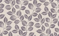 Leaf Trail (PTF1934 5116) - Casadeco Wallpapers - A delicately drawn naturalistic trail of leaves - fresh and simple.  Shown here in aubergine purple on a soft cream. Please request sample for true colour match.