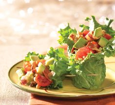 Usually you find lettuce inside a salad, but in this recipe we wrapped lettuce around a salad of fresh avocado, tomato, celery and quinoa instead of veggie bacon.  Veganaise instead of mayo.