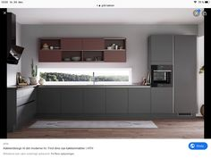 with grey and ower new plom lacquer doors.The new upper cabinets with sliding door are so functional. Upper Cabinets, Grey Cabinets, Kitchen Cabinets, Mid Century Modern Kitchen, Kitchen Cabinet Organization, Grey Kitchens, Studio Apartment, Kitchen Dining, House Design