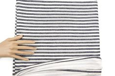 Black and Light Cream Stripe Baby French Terry Knit Fabric 1